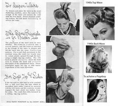 Directions on how to comb out  a 1940's Top Wave, Back Wave and Pageboy