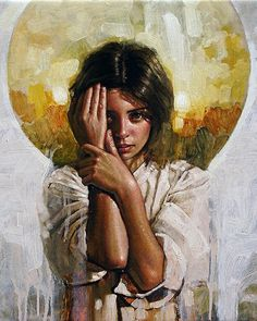 Artist: Diego Dayer {contemporary figurative art female head hands girl face portrait cropped painting #loveart} diegodayer.com