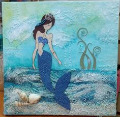 Photo Scraps: August 18 or Sept. 4, 2014 - Mixed Media Prima Doll Mermaid Canvas with Lillian