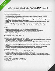 Waitress Resume Objectives Resume Examples Job Objective  Pinterest  Resume Examples And .