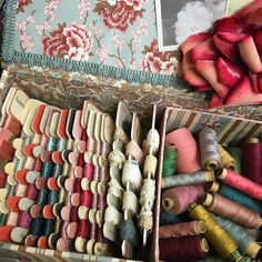 The colours of l'uccello...... old thread spools l'uccello thread storage cards full of French silk threads La Fauvette fabrics and my favorite faded old velvet rose found in Buenos Aires years ago. #luccellomelbourne #vintagehaberdashery #embroidery #sewing #collecting #vintage