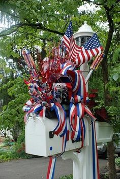 Blue Ribbon Nursery & Landscaping 4th of July mailbox decoration. PBR, fireworks, flags, etc.