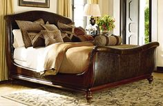 MAGNIFICENT 'ERNEST HEMINGWAY COLLECTION' KING SLEIGH BED from Thomasville