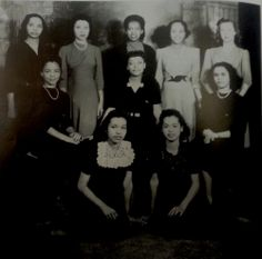 Xavier University Gamma Alpha Chapter 1945  First Row: (left to right) Mariam Victorianne, Hildred Mathieu (Treasurer) Second Row:  Juanita Waiters, Valjeanne Taylor (President), Evelyn Gueringer (Secretary) Third Row:  Olympia Eaglin, Irma Haydel Braden, Natalie Smith (Vice-President), Joy Smith White, Ella Davis