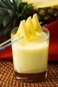 Sunny Hawaiian Smoothie (1 c. orange juice 1 can of crushed pineapple with juice 2 med. bananas 2 tsp. sugar 1 carton plain, vanilla or coconut yogurt).