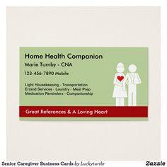 Senior Caregiver Business Cards FIND UNDER HEALTH THERAPY