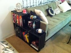 The First Apartment Living: 50 Dollar Fix:   Side bookshelf   Great idea for me small space! Maybe wire baskets instead of   wodden?!