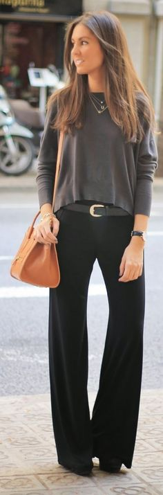 Black Flared Trousers by BCN Fashionista