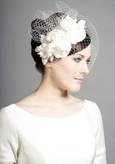 R1441 - Silk teardrop with silk taffeta roses and face veil. Rachel Trevor Morgan.