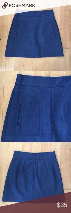 NWOT Zara Denim Skirt Never worn. Adorable little skirt from Zara.  The color is a deep denim blue. 18.5 inches long. 98%cotton 2% elastane. Inner lining. Zara Skirts