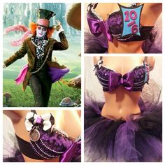 Mad Hatter Inspired Rave Bra EDC Halloween Costume Rave Outfit Rave Top DIY