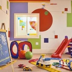 kids playroom colorful painted geometric walls