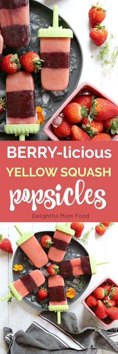 These strawberry popsicles are packed with blueberries, kale, yellow squash and nutritious almond milk! Enjoy these fruit and veggie ice pops as a smoothie or turned into popsicles! Smoothies For Kids, Fruit Smoothies, Healthy Smoothies, Smoothie Recipes, Healthy Meals, Frozen Desserts, Just Desserts, Frozen Treats, Vegan Desserts