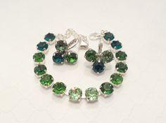 GREEN CRYSTAL BRACELET, swarovski, bridal, bridesmaid, emerald, green, shamrock earrings, designer inspired, dangles, dksjewelrydesigns