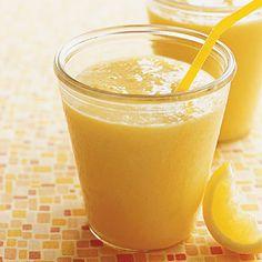 Sunshine Smoothie made from mango, apricots, nectarine, cantaloupe, and lemon yogurt.