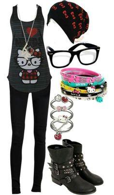 hello kitty nerd outfit