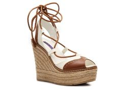 Ralph Lauren Collection Filipa Leather Wedge Sandal