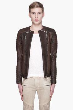 Balmain Brown Leather Padded Biker Jacket @ $4725
