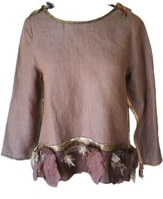 Giselle Shepatin: Mocha linen top with silk applique trim