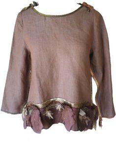 Giselle Shepatin: Mocha linen top with silk applique trim