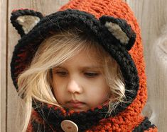 I think this may be just the cutest thing ever. Etsy: The Velvet Acorn CROCHET PATTERN-Flint Fox Cowl months, Toddler, Child, Adult sizes) Bonnet Crochet, Crochet Fox, Cute Crochet, Crochet For Kids, Crochet Crafts, Crochet Projects, Crochet Toddler, Crochet Hooks, Toddler Cowl