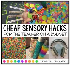 Sensory Hacks For Teachers on a Budget for your special education, kindergarten, or elementary classroom. education Cheap Sensory Hacks for the Teacher on a Budget Sensory Activities For Autism, Special Education Activities, Autism Education, Sensory Tools, Autism Classroom, Special Education Classroom, Preschool Classroom, Preschool Schedule, Sensory Boards