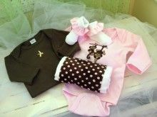 Monkey Around: This baby girl gift basket includes: 2 Onsies, burp cloth and socks