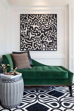 I love the cute look of this space. It is well put together and decorated nicely. I like the use of decorative accents that make the whole room standout. The Best Green Color Combinations for Decorating Decor, Green Interiors, Green Sofa, Furniture, Interior Design, Home Decor, House Interior, Green Decor, Room Decor