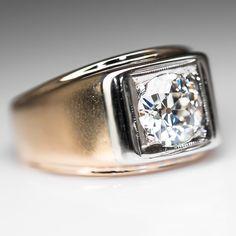 1.5 Carat Old Euro Diamond Vintage Mens Band Ring