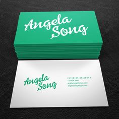 Teal and white script premade business card by Brandi Lea Designs on Etsy  https://www.etsy.com/listing/233790299/premade-business-card-design-print-ready