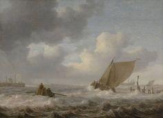 Jan Porcellis - Riviermond met schepen bij stormachtig weer
