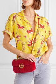 Red velvet Push clasp-fastening front flap Designer color: Hibiscus Comes with dust bag Weighs approximately Made in Italy Magda Butrym, Gg Marmont, Dinosaur Design, Cloth Bags, Floral Tops, Gucci, Velvet, Shoulder Bag, Mini