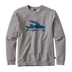 M's Flying Fish Midweight Crew Sweatshirt, Feather Grey (FEA)