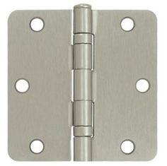 3.5 in. x 3.5 in. Ball Bearing Steel Hinge - Pair (Set of 10) (Satin Nickel) by Deltana. $70.80. Pair . Residential steel hinge . Pictured in Satin Nickel . Corners: 0.25 in. Radius . Thickness: 0.085 in. . Wood screw: No.9 x 0.75 in. . 3.5 in. L x 3.5 in. W