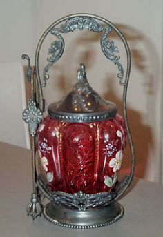 Antique Victorian Cranberry Enamel Glass Pickle Castor Homan Silverplate Tongs