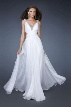 A-line V-neck Floor-length Beading Chiffon Prom Dresses