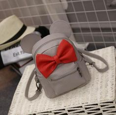 Mickey backpack Female bag Quality PU leather Women Backpack Mickey ears Sweet girl bow Travel Rucksack