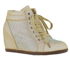 Your Party Shoes Women's Billie Jean Metallic Rhinestone Fashion Wedge Sneaker