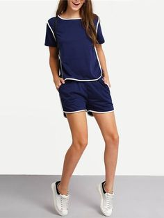 Conjunto Feminino Short e Blusa Azul - Compre Online