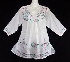 NEW Indian Nepal Gypsy Hippie Boho Retro CHIC WHITE BLOUSES FLORAL Top shirt