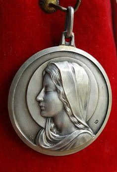 Vintage Spanish Silver Blessed Mother Mary Medal Pendant Blessed Virgin Mary Catholic Jewelry Religious Hallmarked First Communion Gift by PinyolBoiVintage on Etsy