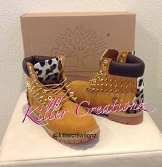 Custom spiked Timberland boots with leopard - made to order from KillerCreationz on Etsy