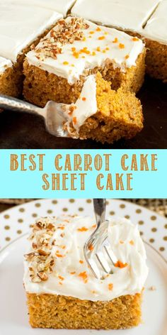 is the Best Carrot Cake Sheet Cake Recipe ever! It's moist and fluffy, topped with the most incredible cream cheese frosting! Great for Easter dessert! Sheet Cake Recipes, Easy Cake Recipes, Easy Desserts, Dessert Recipes, Recipe Sheet, Easter Recipes, Dessert Simple, Desserts Ostern, Best Carrot Cake