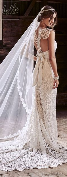 Wedding Dress by Anna Campbell Eternal Heart collection 2018 - seriously, her hair though- and that dress, for that matter lol Stunning Wedding Dresses, Colored Wedding Dresses, Beautiful Dresses, Anna Campbell, Bridal Gowns, Wedding Gowns, Wedding Veil, White Gown Dress, Chic Wedding