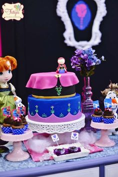 Lovely Frozen birthday party cake! See more party planning ideas at CatchMyParty.com!