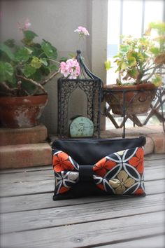 Obi / Kimono / Clutch / BK713 Gorgeous flower Pattern Obi Bow Clutch by RummyHandmade on Etsy