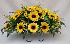 Simple Sunflower Arrangements | Father's Day No. 4014 Sun Flower Cemetery Flower by AFlowerAndMore Grave Flowers, Cemetery Flowers, Funeral Flowers, Funeral Floral Arrangements, Fall Flower Arrangements, Cemetary Decorations, Contemporary Flower Arrangements, Funeral Sprays, Memorial Flowers
