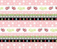 Holiday Star Gifts-pink personalized fabric by drapestudio on Spoonflower - custom fabric - http://www.spoonflower.com/designs/3649827