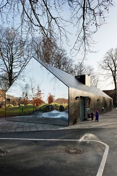Mirror House. Danish-American architects MLRP in Copenhagen, has transformed an existing graffiti-plagued playground structure to an inviting and reflective pavilion as part of the new Interactive Playground Project in Copenhagen.