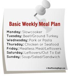 Basic Weekly Meal Plan note-widget